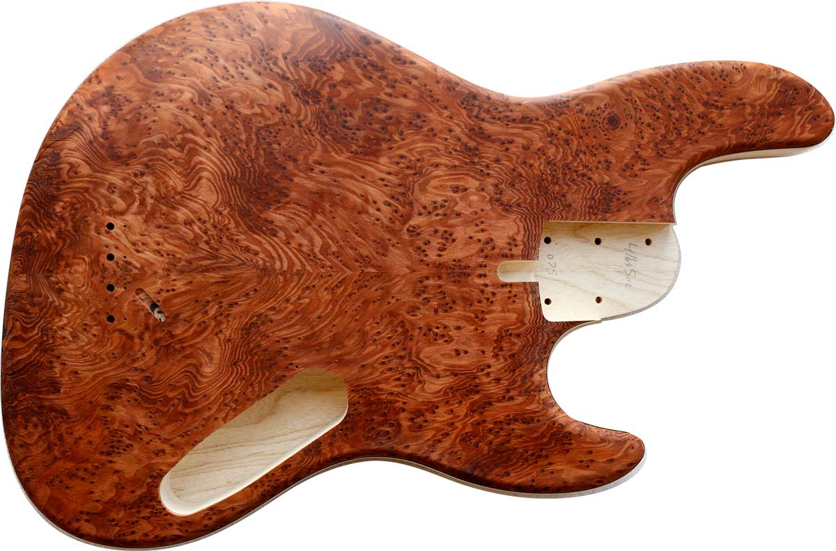 4-string bass body with burl redwood top, ash body