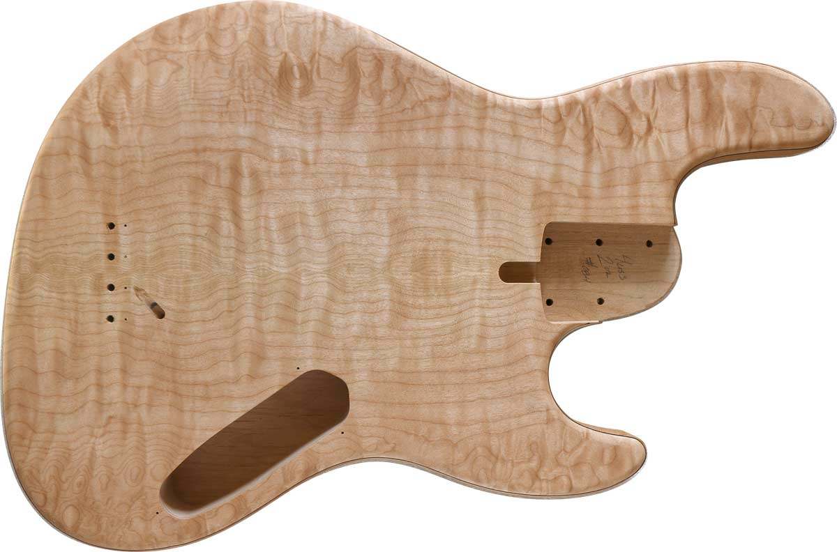 4-string bass body with AAA Quilted Maple top, Alder body