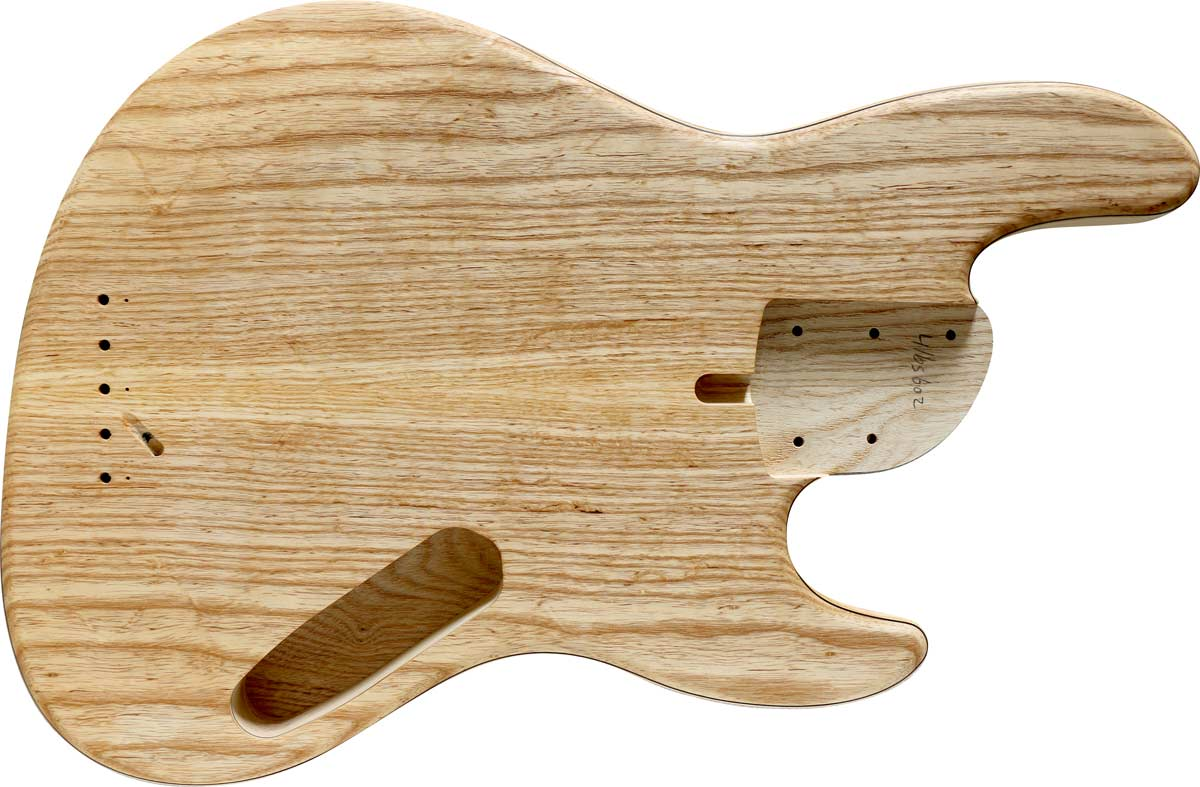 5-string bass body with an ash top and body