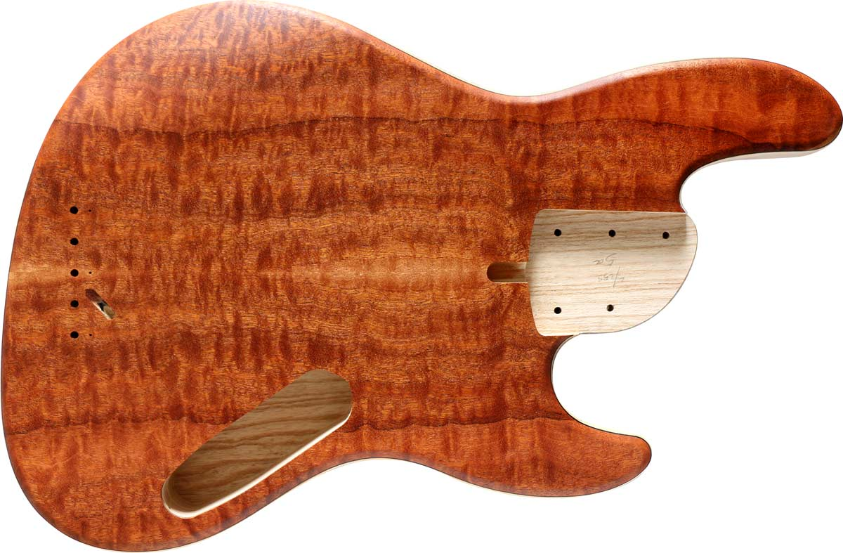 5-string bass body with a quilted sapele top and ash body