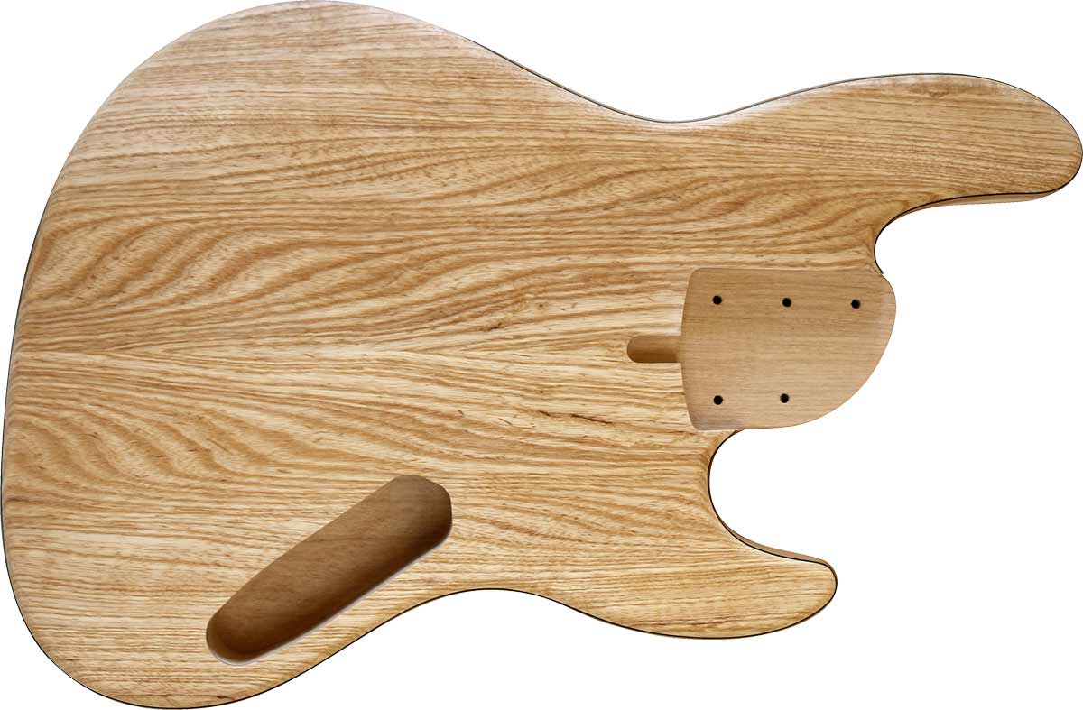 5-string bass body with an ash top and alder body